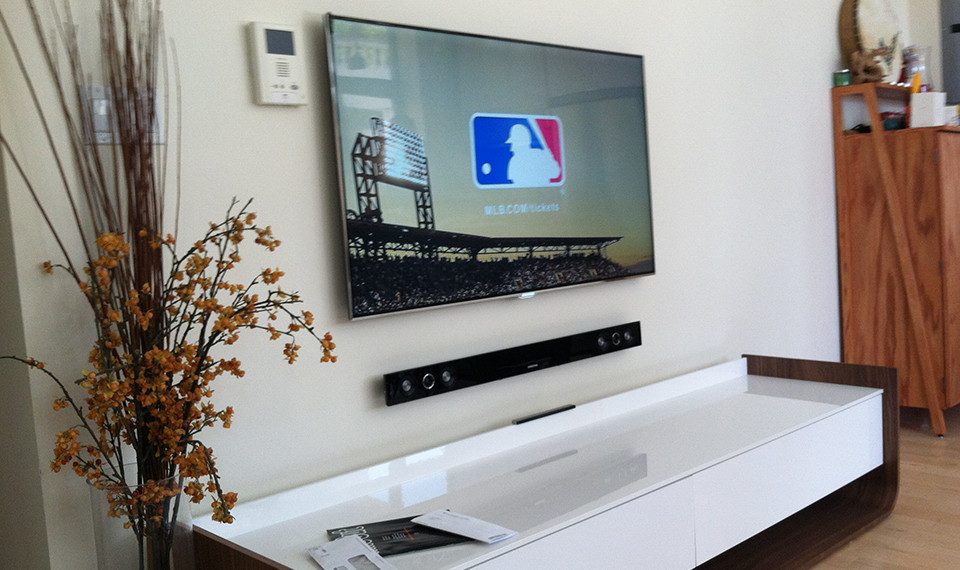 Perfect sound with tv installation nyc with subwoofer in for Home bar installation